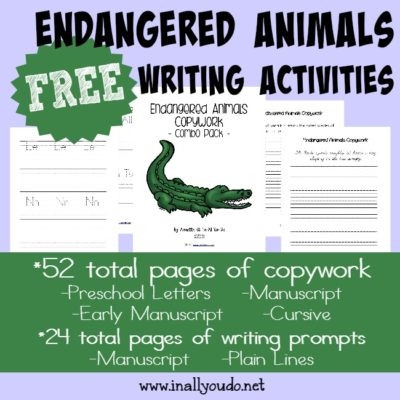 FREE Endangered Animals Writing Activities printables