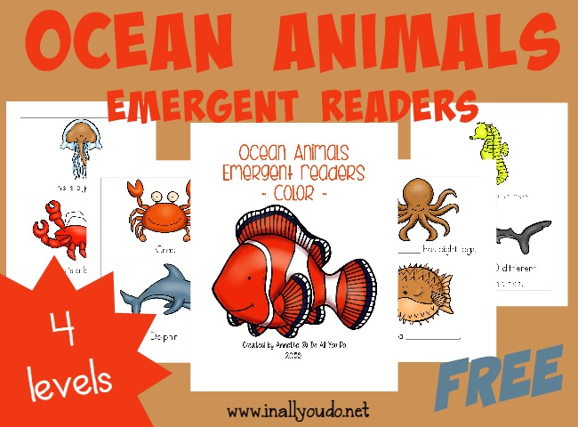These fun Emergent Readers are a great way to practice reading & learn more about these Ocean Animals!! {4 levels} :: www.inallyoudo.net