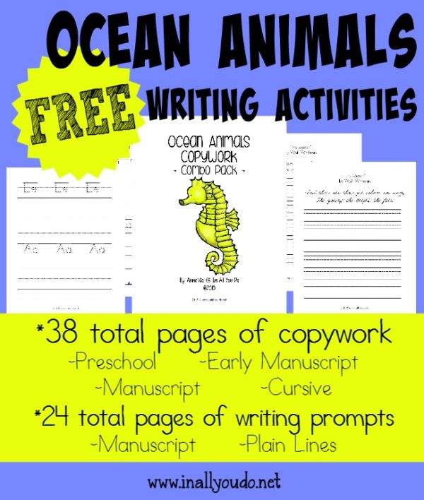 Learning about Ocean Animals is even more FUN with the FREE Ocean Animals Writing Activities!! {52 total pages} :: www.inallyoudo.net