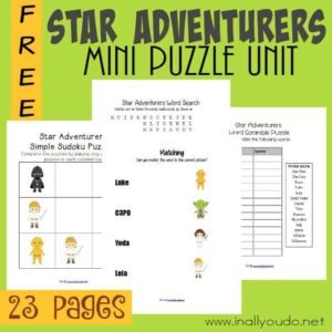 If you have Star Wars fans, you don't want to miss these FUN puzzles & activities. This pack includes 23 pages of crosswords, matching, sudoku and MORE! :: www.inallyoudo.net