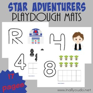 These Star Adventurers Playdough Mats are perfect for your little Star Wars fans to practice their fine motor skills while working on letters and counting! :: www.inallyoudo.net