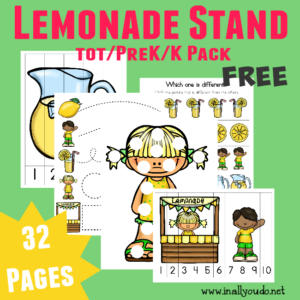 Summer is fast approaching and Lemonade Stands will be everywhere!! Let your little ones join in the fun with this Lemonade Stand Tot - PreK/K Pack!! {32 total pages} :: www.inallyoudo.net