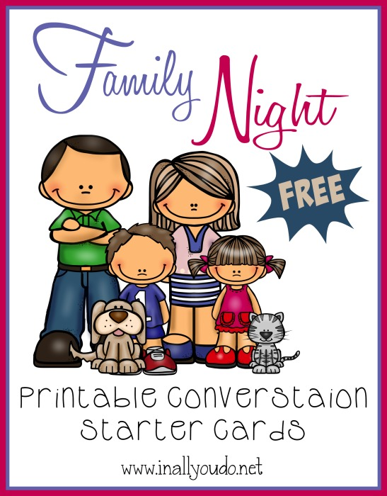 image regarding Printable Conversation Cards named Family members Night time Interaction Starters no cost printable - Within All