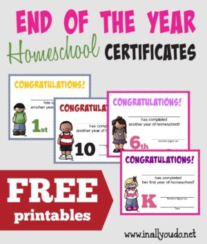 End of the Year Homeschool Certificates