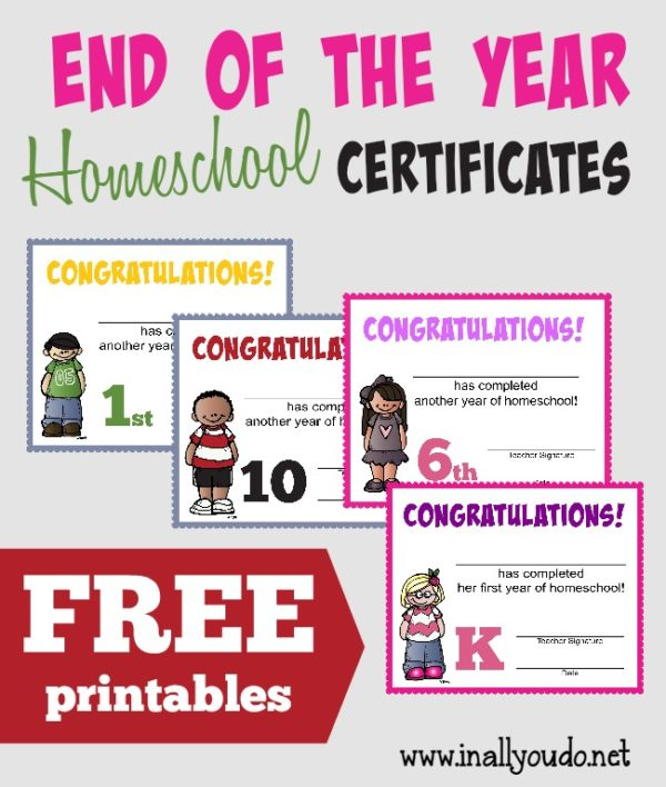 Celebrate the end of another Homeschool Year with these SUPER CUTE Certificates!! Includes two styles for both boys and girls. :: www.inallyoudo.net