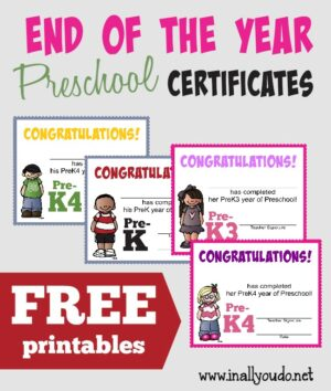 End of the Year PRESCHOOL Certificates