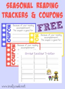 Motivate your kids to read with these Seasonal Reading Trackers & Coupons!! {free printables} :: www.inallyoudo.net