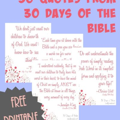 FREE 30 Days of Bible Quotes Printable