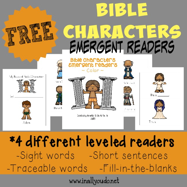 Kids will enjoy learning about more Bible Characters as they practice their reading with these Emergent Readers! {4 different levels} :: www.inallyoudo.net