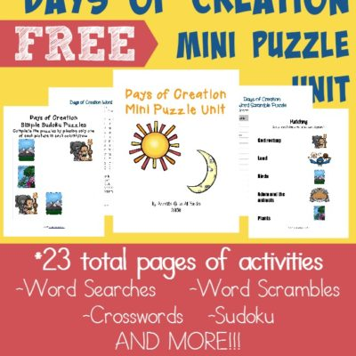 FREE Days of Creation Printables: Writing Activities & Puzzles