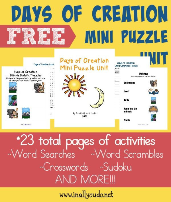 Kids will be excited to learn more and share about the Creation with these FREE Writing Activities. Includes 23 pages of puzzles and activities for PreK-5. :: www.inallyoudo.net