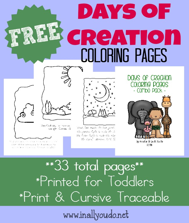 FREE Days of Creation Coloring Pages & MORE! - In All You Do