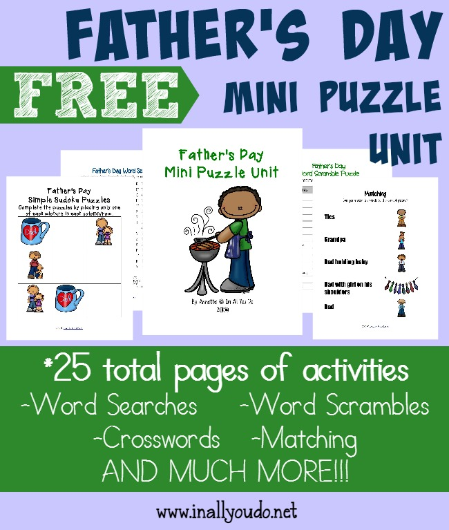 Kids and Dads alike will have fun with this Father's Day mini puzzle and activity pack! {25 total pages} :: www.inallyoudo.net