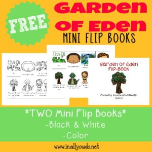 Studying God's Word? Grab these Garden of Eden themed printables to help kids learn the Scriptures in a fun way! Includes Coloring Pages, Emergent Readers & a fun Flip Book. :: www.inallyoudo.net