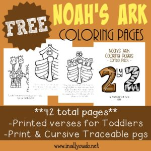 Noah's Ark is a wonderful story of God's promise to mankind. Help kids learn more with these coloring pages, emergent readers & mini flip book! :: www.inallyoudo.net