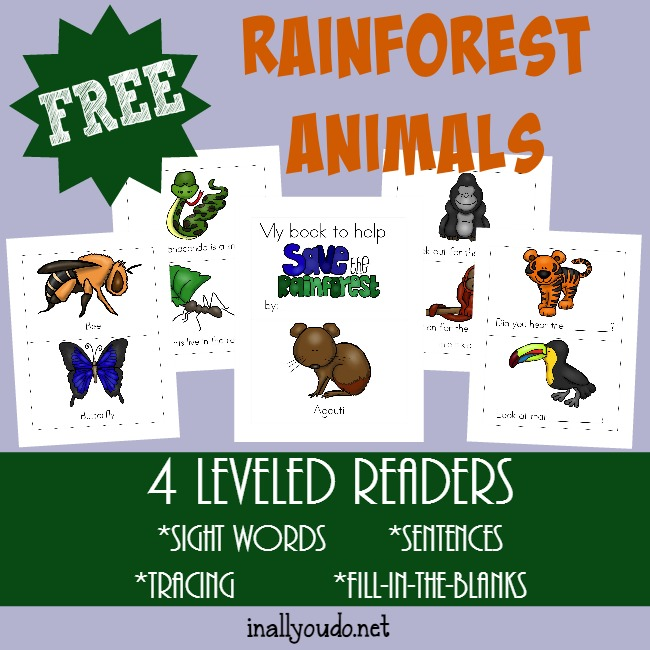 Studying the Rainforest this year? Get your little ones excited with these fun Rainforest Animals Emergent Readers! {4 levels} :: www.inallyoudo.net