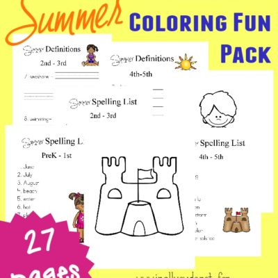 Summer Spelling & Coloring Pack **FREE**