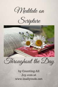 Day 20: Meditating on Scripture throughout the day can not only change your mood, but the atmosphere of the entire house. Here are some tips. :: www.inallyoudo.net
