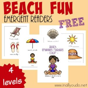 Going to the Beach soon? Grab these SUPER CUTE Beach Emergent Readers to help your kids recognize some new words! {4 levels} :: www.inallyoudo.net