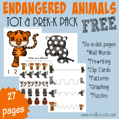 Little ones will enjoy learning about these Endangered Animals with this FUN Tot & PreK-K Pack! 27 pages of activities including puzzles, do-a-dot pages, prewriting & MORE!! :: www.inallyoudo.net