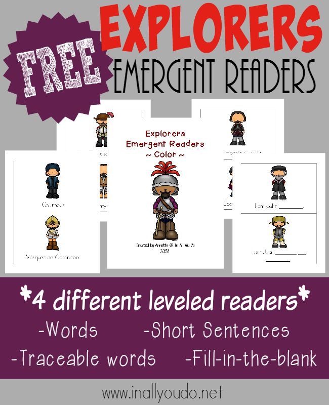 Introduce kids to 12 Amazing Explorers with these FUN Emergent Readers! Available in 4 different levels and Color or Black & White! :: www.inallyoudo.net