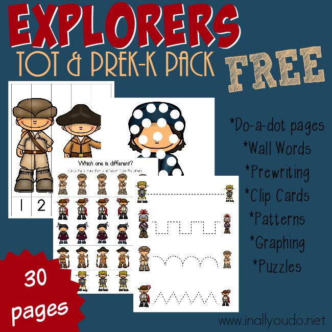 Little ones will LOVE learning about these 12 Explorers with this FUN Tot & PreK-K pack! Includes 30 pages of puzzles & activities!! :: www.inallyoudo.net