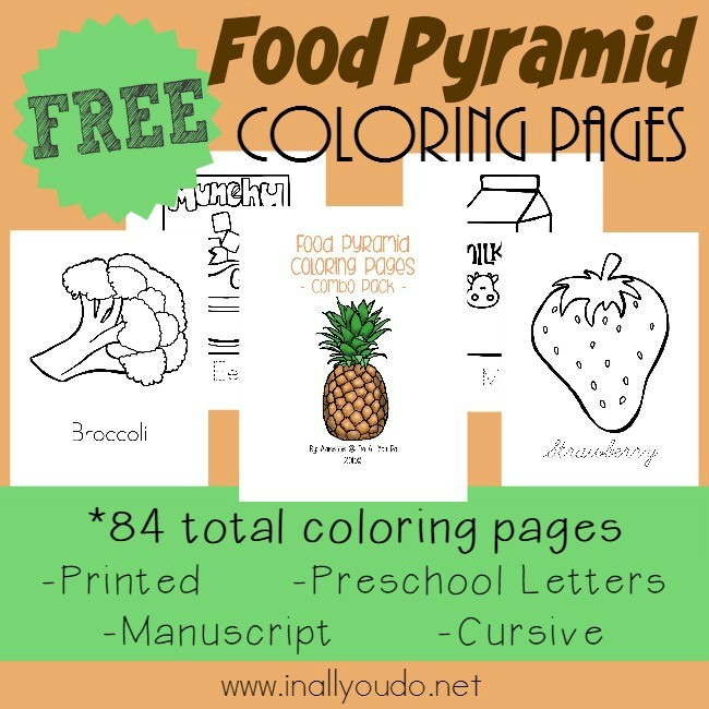 Learning about the Food Pyramid is SUPER FUN with these Coloring Pages - complete with handwriting practice! :: www.inallyoudo.net