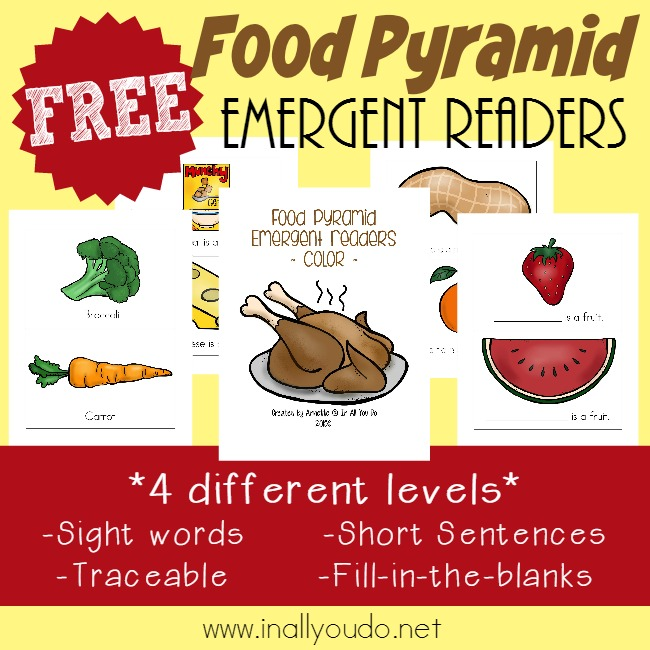 Learning about the Food Pyramid is SUPER FUN with these Emergent Readers - available in 4 different levels! :: www.inallyoudo.net