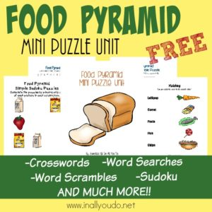 Food Pyramid Writing & Puzzle Activities