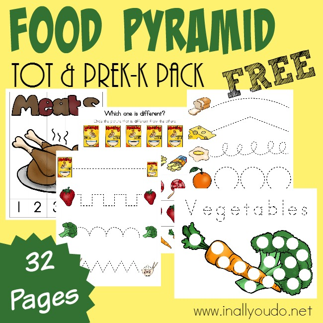 Little ones will enjoy learning all about the Food Pyramid with this fun Tot & PreK-K Activity Pack!! {31 total pages} :: inallyoudo.net