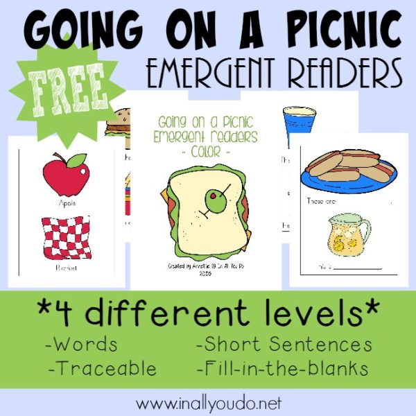 Get kids excited about reading with these ADORABLE Going on a Picnic Emergent Readers! Available in 4 different levels for kids to practice. :: inallyoudo.net