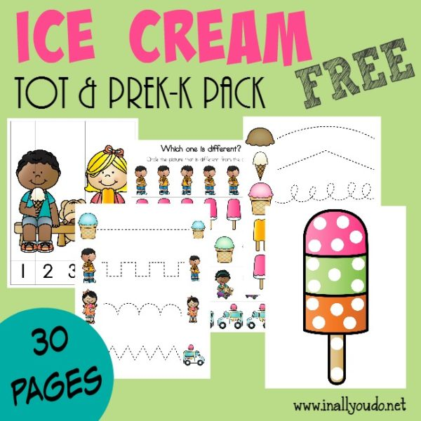 Summer is the perfect time to study Ice Cream! Grab this fun Tot & PreK-K pack for your little ones! {30 total pages} :: www.inallyoudo.net