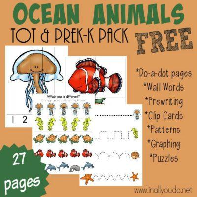 Ocean Animals Tot & PreK-K Pack