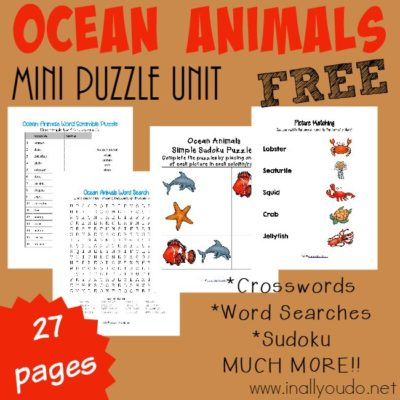 FREE Ocean Animals Mini Puzzle Unit