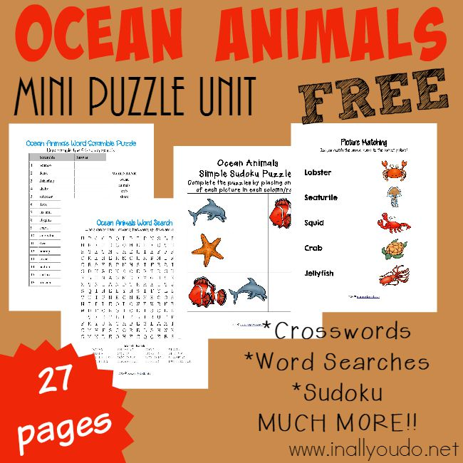 Kids can learn about 16 different Ocean Animals with this fun-filled puzzle & activity pack! Includes crosswords, word searches, matching and more! :: www.inallyoudo.net