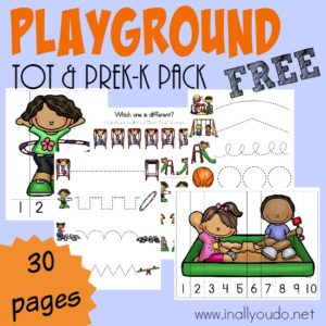 Going to the playground is every kids dream day! Why not bring some of that FUN inside with this ADORABLE Playground Tot & PreK-K Pack! {30 total pages} :: www.inallyoudo.net