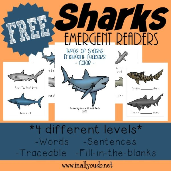 Learn about some sharks while practicing your reading skills with these fun Emergent Readers! {4 levels} :: www.inallyoudo.net