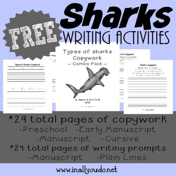 Studying Sharks? Check out these great Shark themed copywork and writing prompts printables! {48 total pages} :: inallyoudo.net