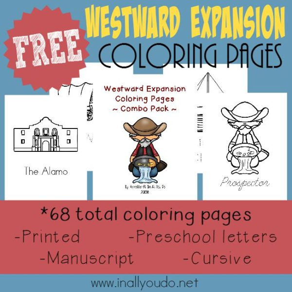 These fun coloring pages are a great starting point for a study on the Oregon Trail and Westward Expansion! Includes 68-pages in 4 different levels! {FREEBIE} :: www.inallyoudo.net