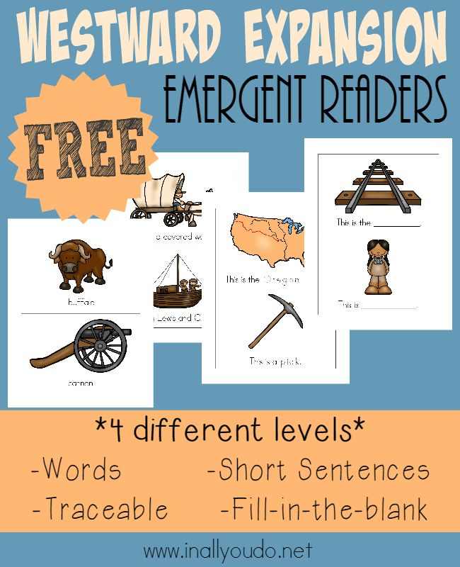 Get little ones excited about reading with these FUN Westward Expansion Emergent Readers!! Available in 4 different levels! :: www.inallyoudo.net