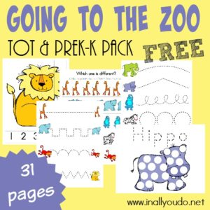 Little ones will LOVE learning about all the Zoo Animals with these ADORABLE Going to the Zoo Tot & PreK-K Pack!! {31 total pages} :: www.inallyoudo.net