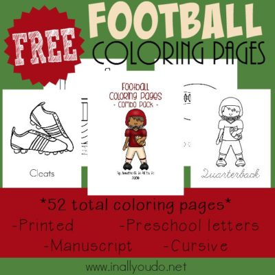 Are your kids football fans? Kids will LOVE coloring these SUPER CUTE Football themed pages!! You will get 52 total pages to color in all! :: www.inallyoudo.net