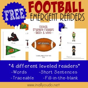 Get the little ones excited about football with these SUPER FUN Emergent Readers!! Available in 4 different levels! :: www.inallyoudo.net