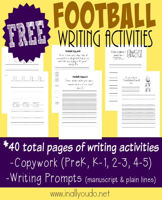 Brush off the summer brain and get those creative juices flowing with these FUN Football themed Writing Activities! {40 pages total} :: www.inallyoudo.net