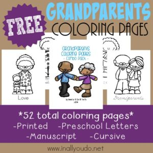 Grandparents Day is in September every year. Help kids celebrate their Grandparents with these ADORABLE Coloring Pages & Emergent Readers! :: www.inallyoudo.net
