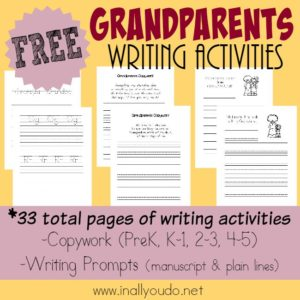 Grandparents will enjoy seeing these FUN Writing Activities & memories from their grandchildren. {33 total pages of activities} :: www.inallyouodo.net