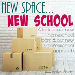 I am SO EXCITED about this new school year! Join me as I share with you our new homeschool space and our new homeschool approach! :: www.inallyoudo.net