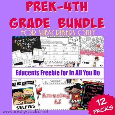 EXCLUSIVE PreK-4th Grade SUBSCRIBER FREEBIE