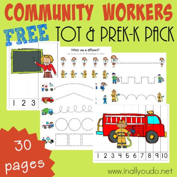 Community Workers are our friends. Some keep us safe and some keep our cities beautiful. Whatever their job, it is important that children know them. Grab these Printable Packs for Tots & PreK-K today! :: www.inallyoudo.net