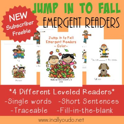 "Fall is HERE!! Grab these SUPER CUTE ""Jump In to Fall"" Emergent Readers, for the young learners in your house! {4 levels} :: www.inallyoudo.net"